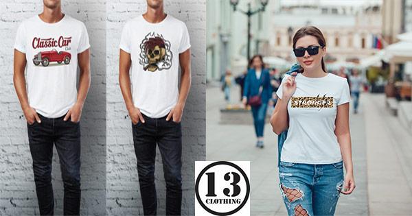 13clothing cashback - cumpara tricouri din bumbac de femei si barbati si castiga bani online