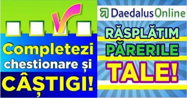 Daedalus Online cashback - inscriete pentru realizarea de sondaje online pentru firme si castiga bani online