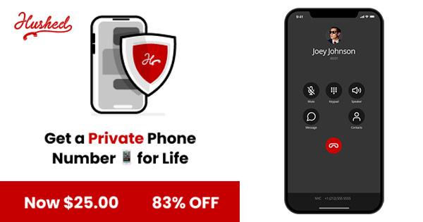 Hushed App cashback - cumpara numar de telefon privat pe viata, apeluri anionime si castiga bani online