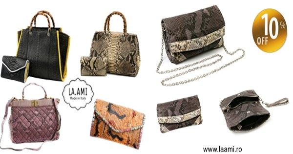 Laami cashback - cumpara genti si posete din piele naturala de piton si castiga bani online